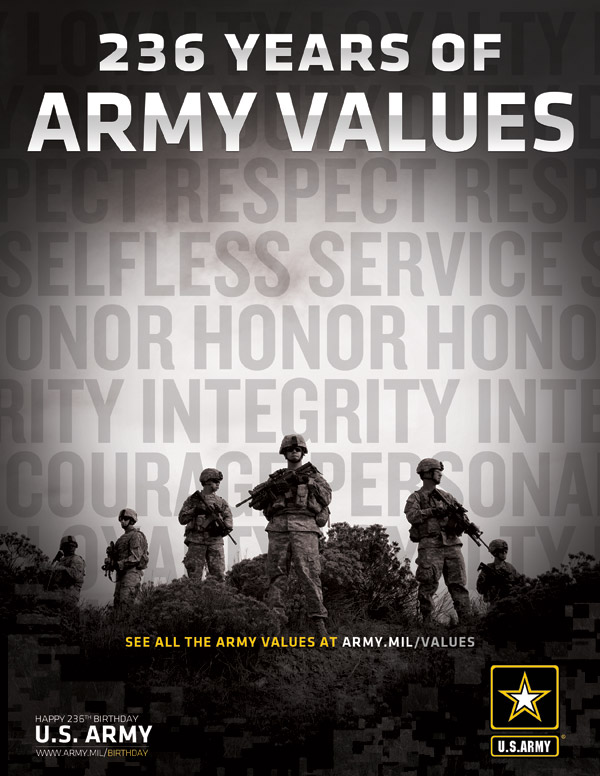 236th Army Birthday & Army Values Ad